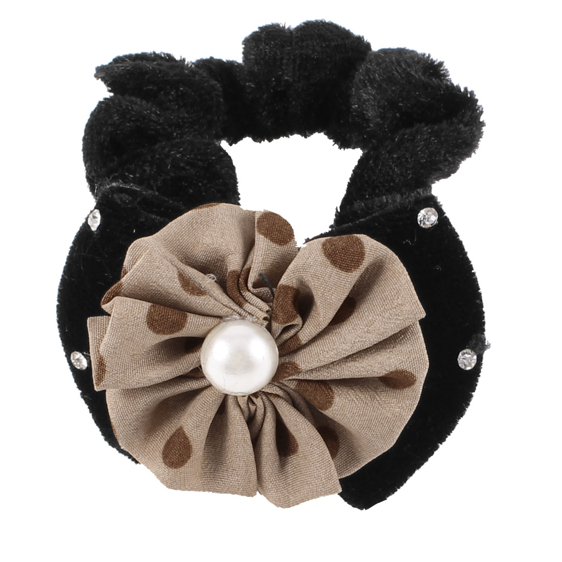 Ladies White Faux Pearl Bow Decora Stretchy Velvet Hair Tie Scrunchy Holder Black