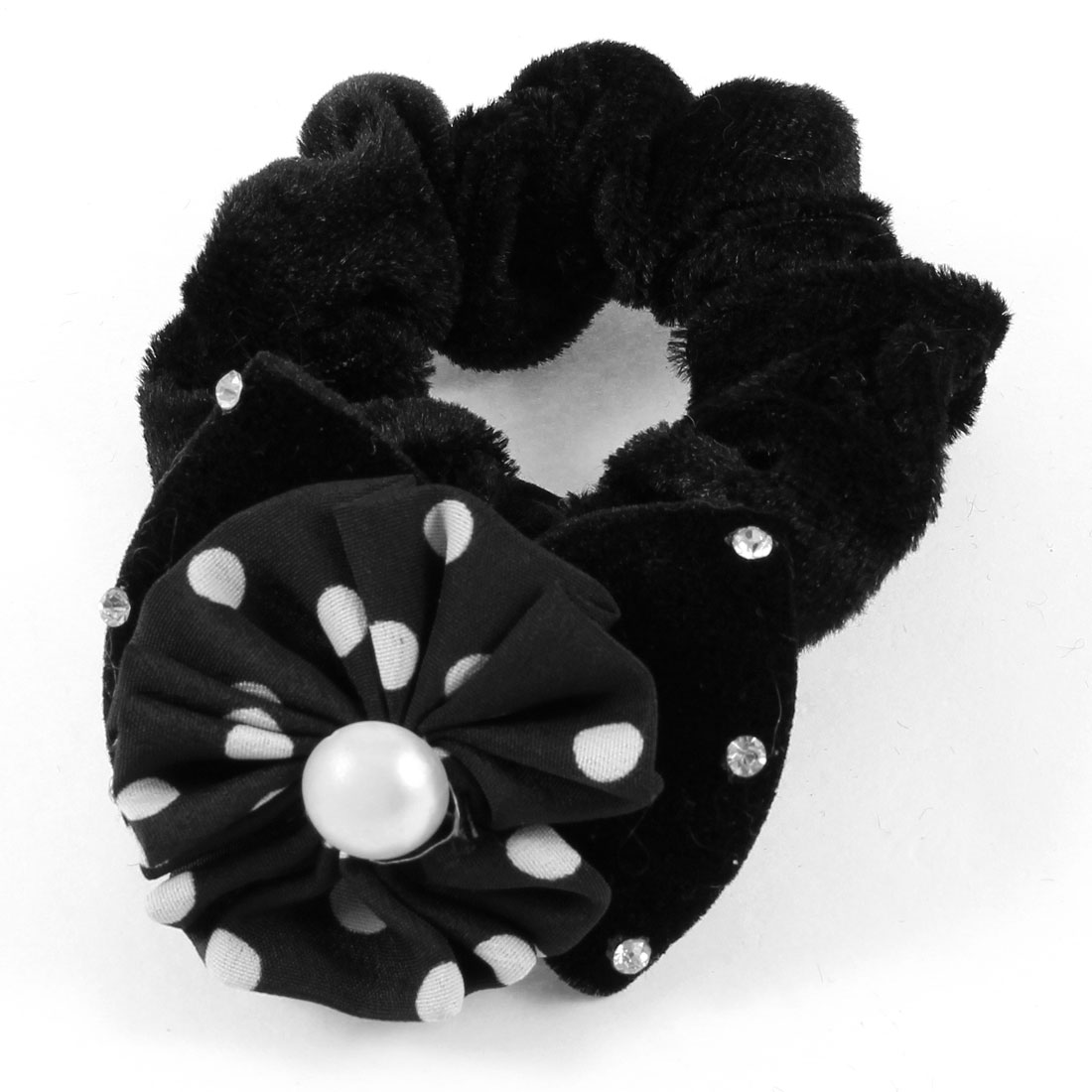 Ladies Bow Decoration Stretchy Velvet Hair Tie Scrunchy Holder Black
