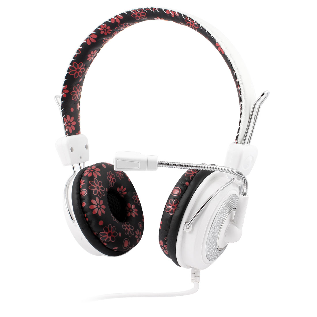 Laptop Black Red Floral Sponge Ear Cushion White Stereo Bass Headset Headphone Mic