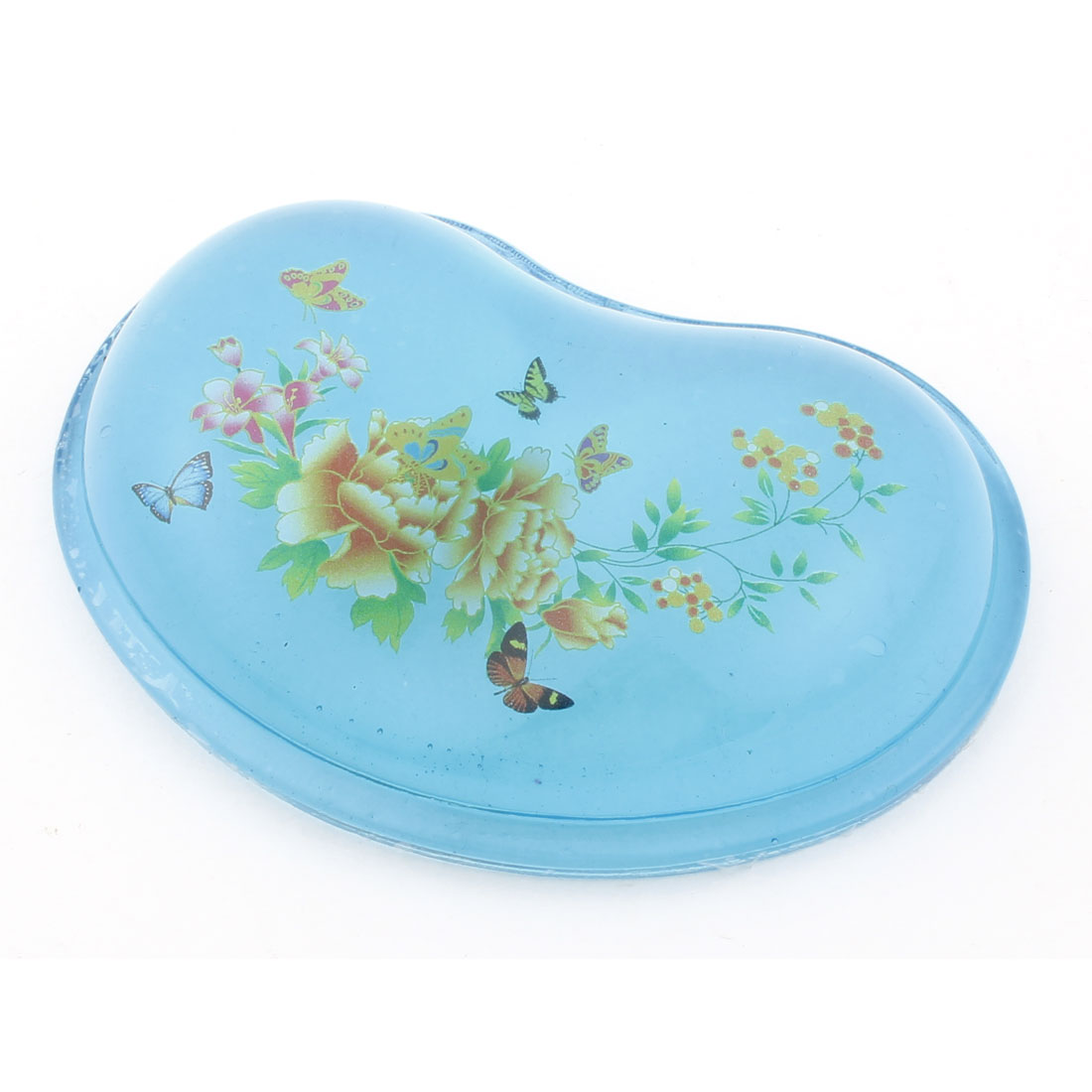 Yellow Flower Butterfly Pattern Gel Wrist Rest Mouse Pad Blue