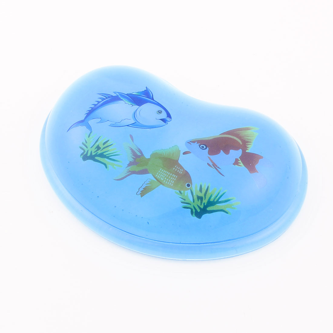 Cartoon Marine Fishes Grass Pattern Gel Wrist Rest Mouse Pad Blue