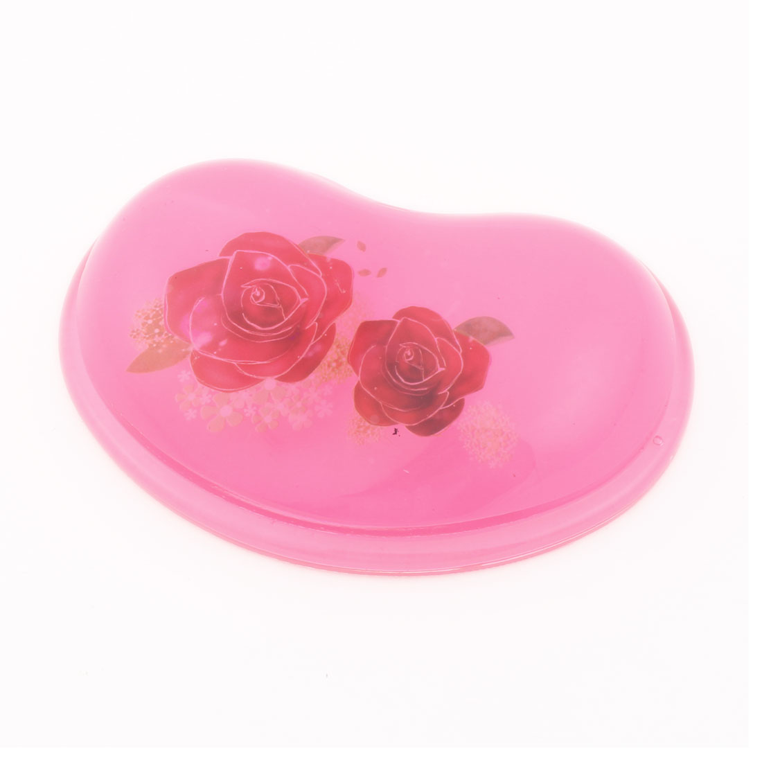 Red Rose Flower Pattern Gel Wrist Rest Mouse Pad Pink