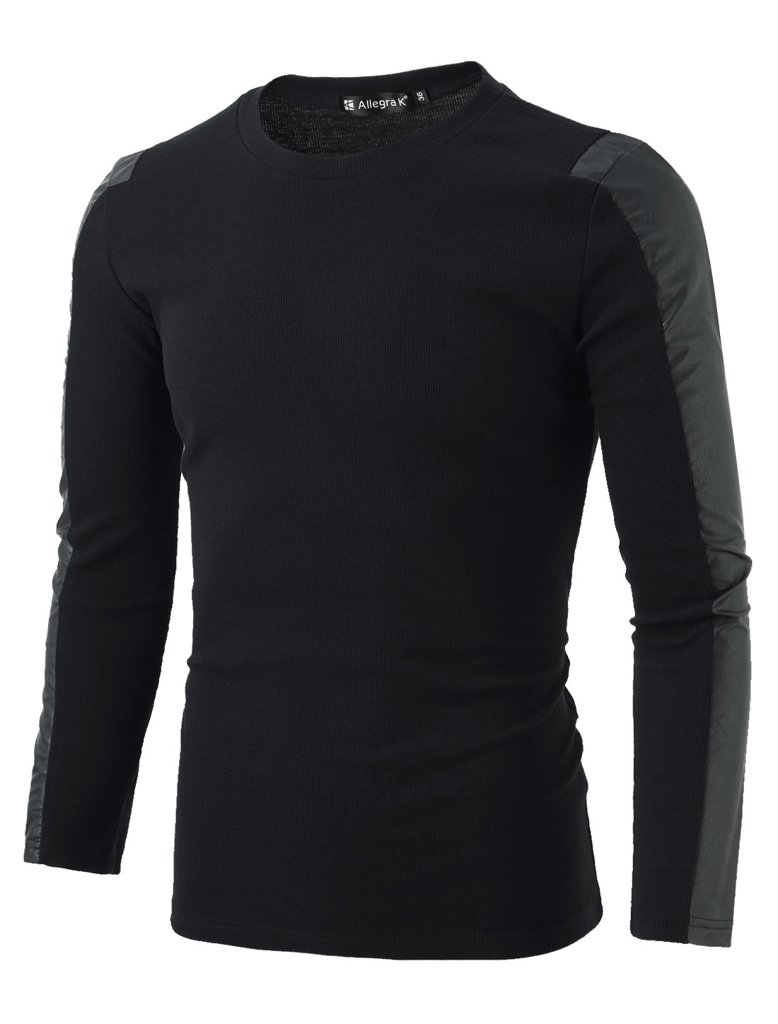 Mens Black Round Neck Long-sleeved Ribbing Design Slim Top Shirt M