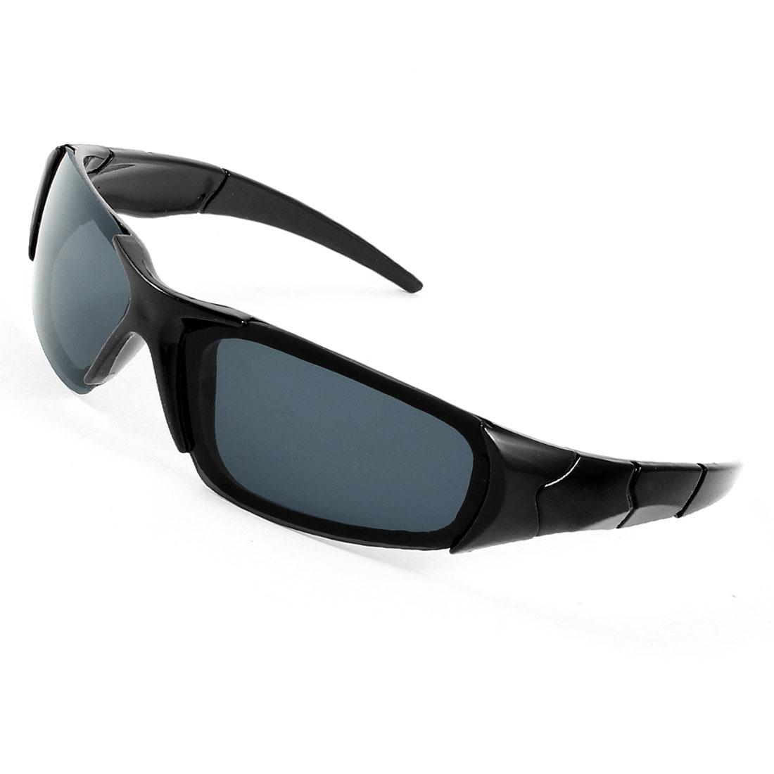 Black Plastic Striped Carved Arm Full Rim Rectangle Lens Sunglasses for Child