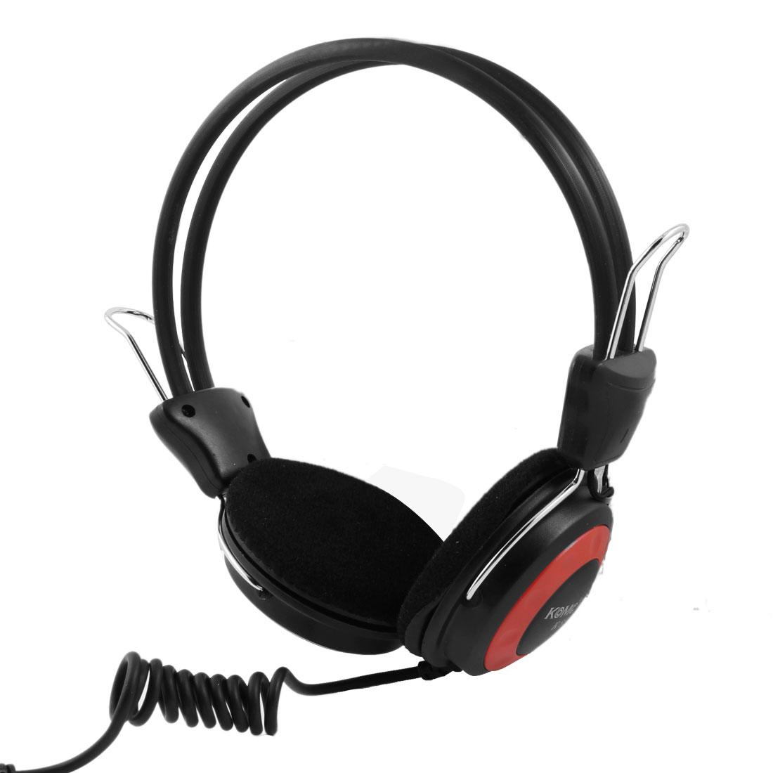 Black Red Sponge Padded Ear Cushion 3.5mm Stereo Headset Headphone w Microphone