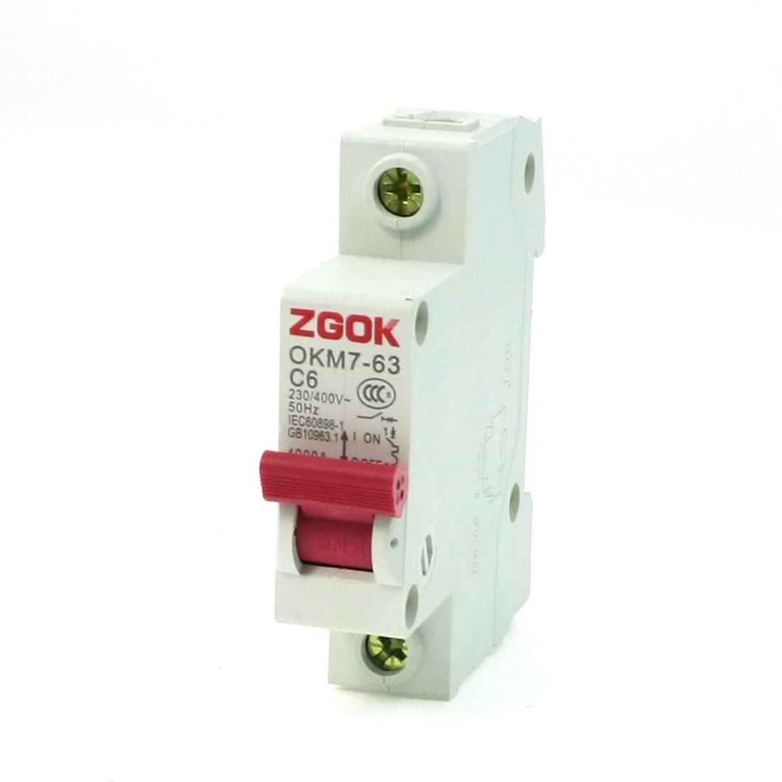 OKM7-63 C6 1 Pole MCB Miniature Circuit Breaker AC 230V 400V 6A