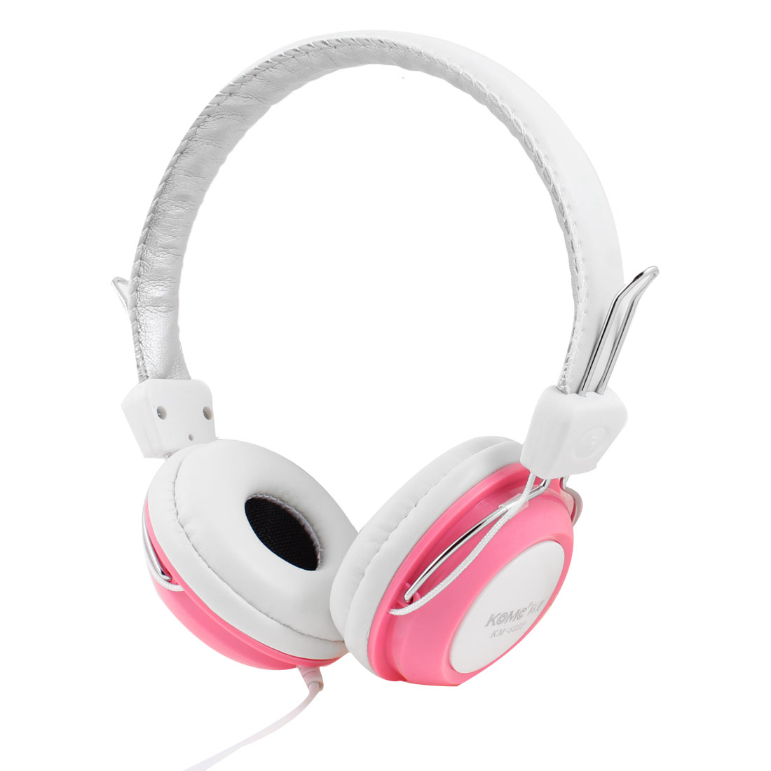 Pink White 3.5mm Plug Stereo Bass Headset Headphone w Microphone for Desktop PC