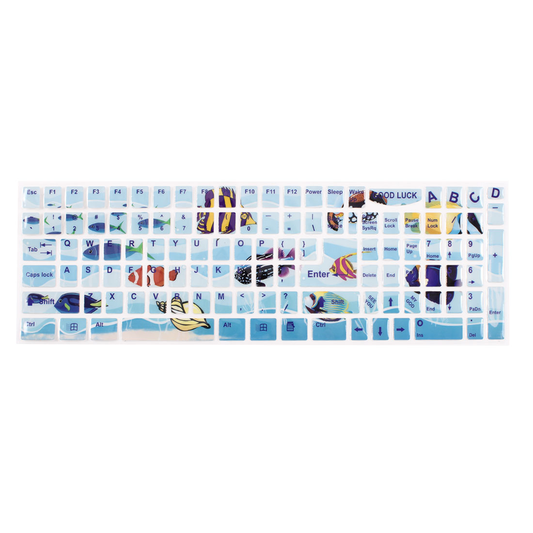 Colorful Marine Fishes Pattern Light Blue Keyboard Sticker Decal for Laptop PC
