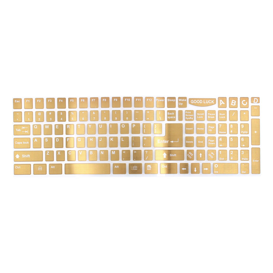 White English Letters Keyboard Sticker Decal Gold Tone for Laptop PC
