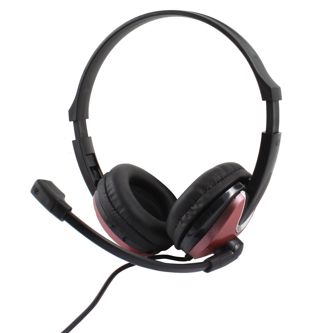 Black Dark Pink 3.5mm Plug Stereo Bass Headset Headphone w Microphone for Laptop