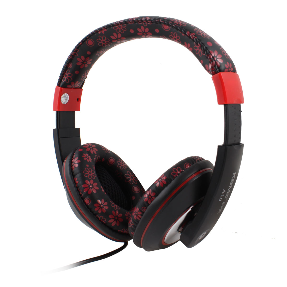 Black Red Flower Prints 3.5mm Connector Stereo Headset Headphone w Mic for Desktop PC