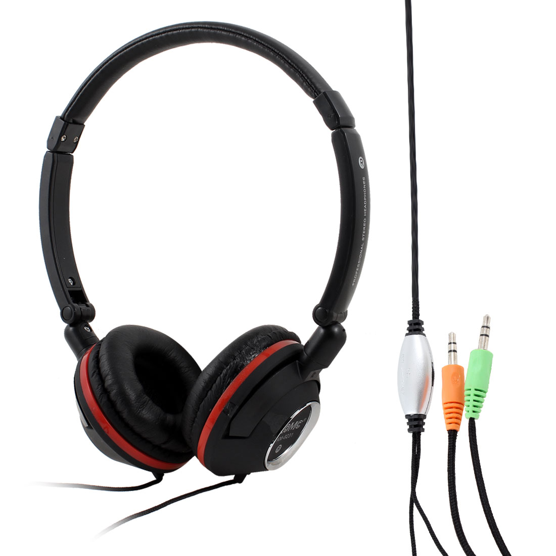Black Red 3.5mm Plug Stereo Bass Headset Headphone w Mic for Laptop PC Computer