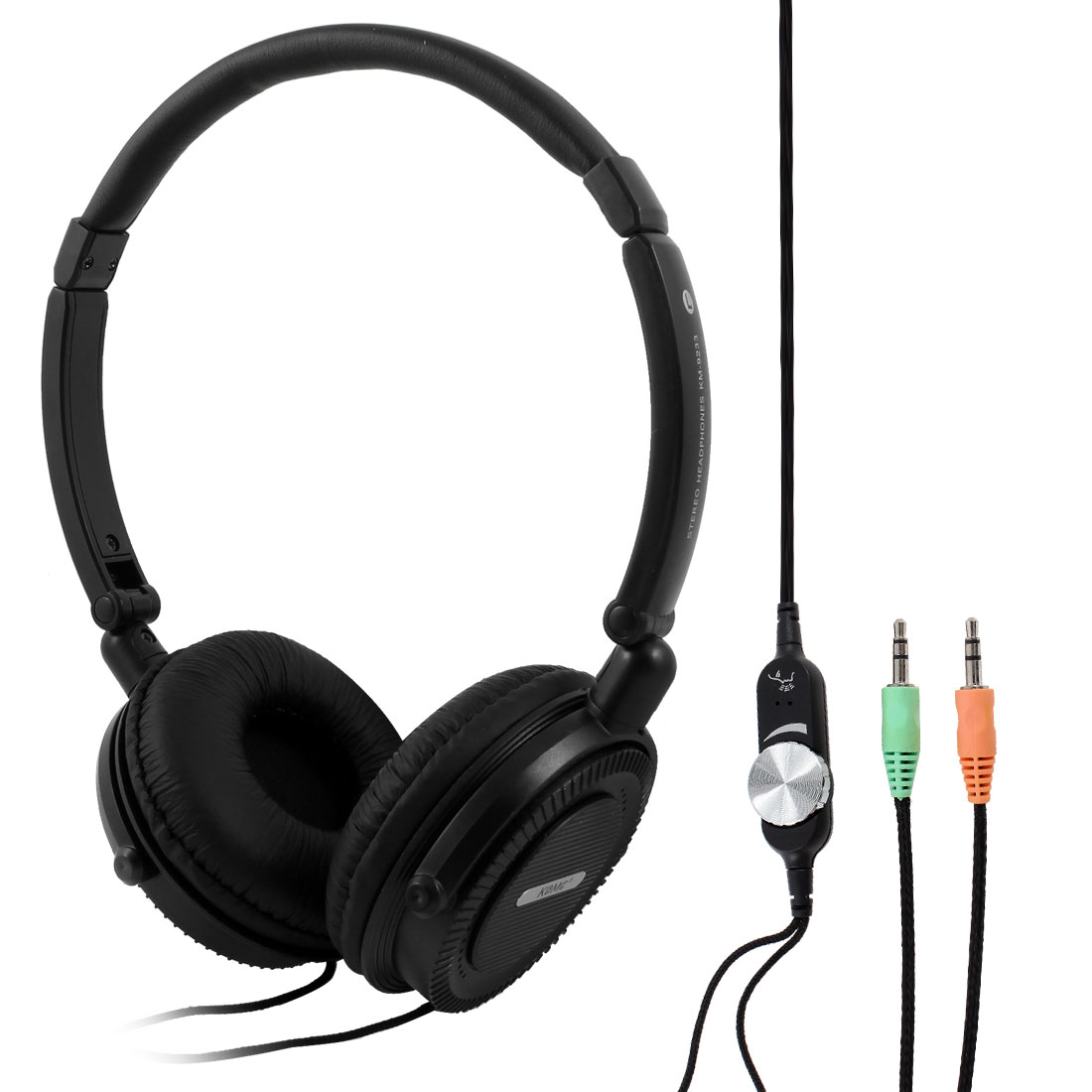 Black 3.5mm Plug Stereo Bass Headset Headphone Earphone Mic for Notebook Laptop
