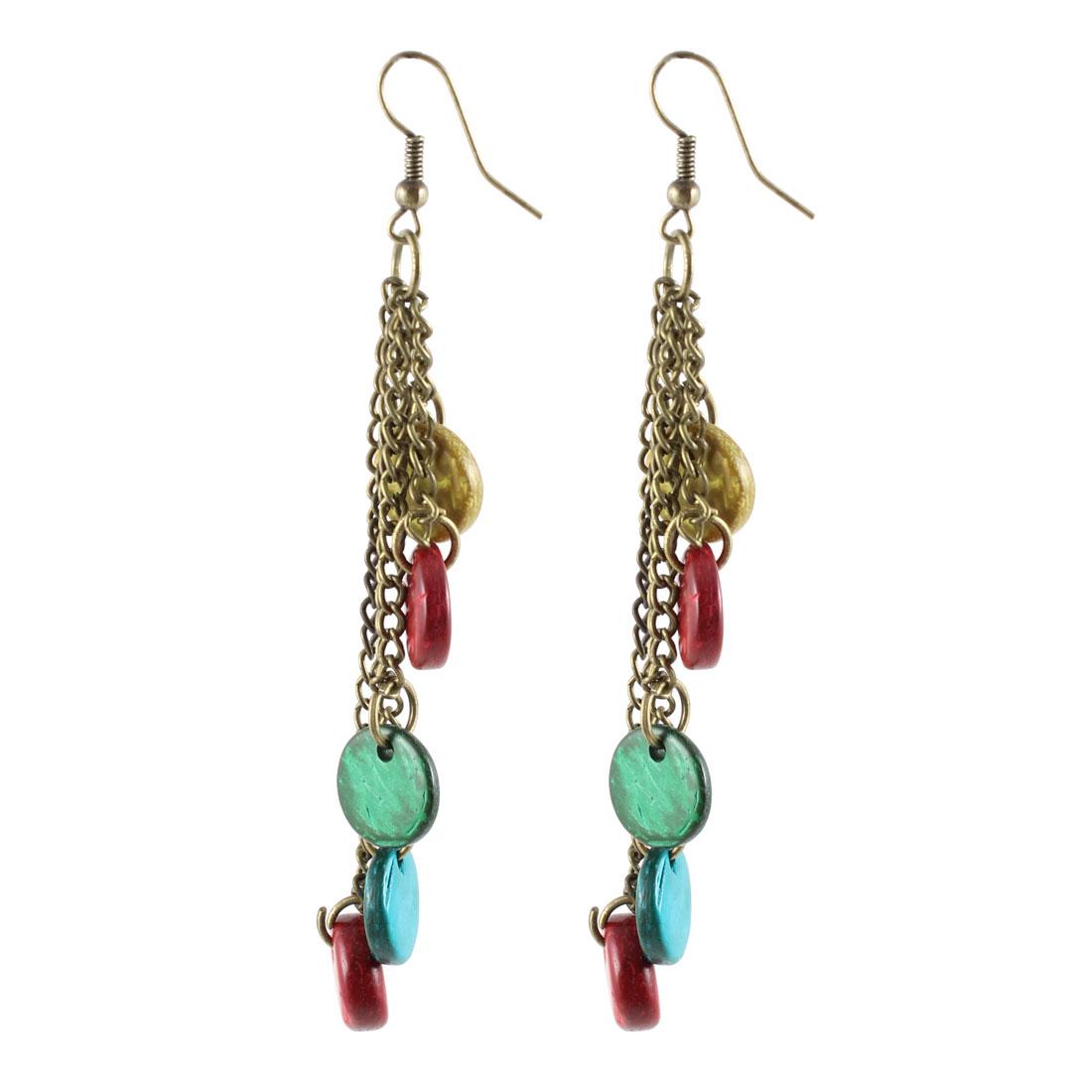 Ladies Multicolor Coconut Flat Beads Bronze Tone Metal Chain Hook Earrings Pair