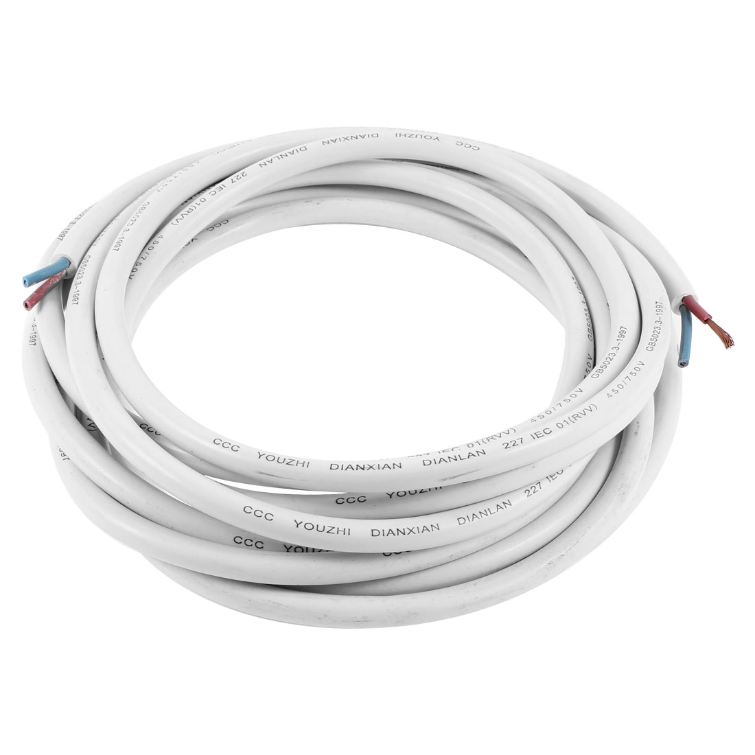 15/2 AWG Wire Copper Core Flexible PVC Insulated RVV Cable Cord 16.4 Feet White