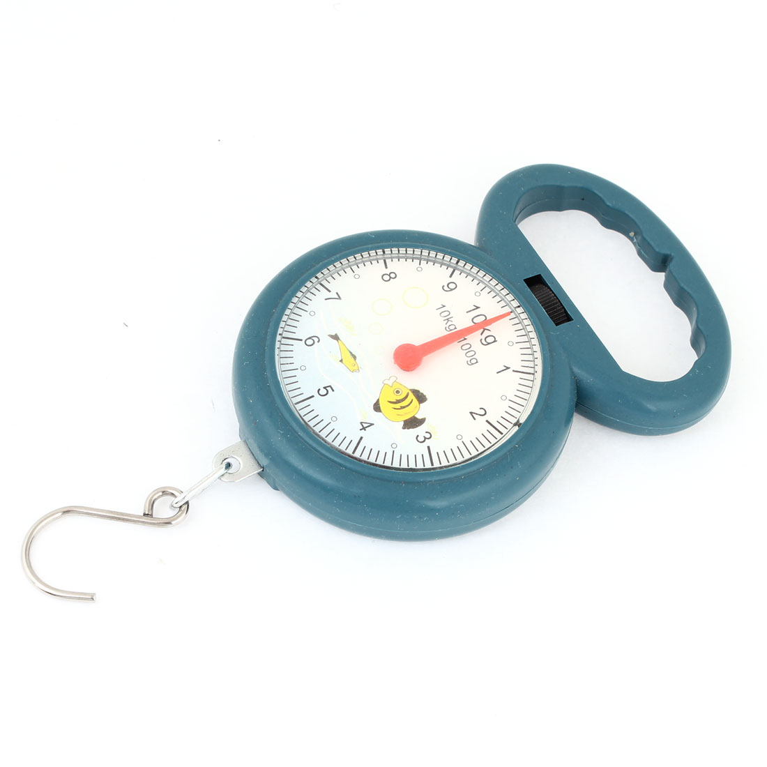 10kg x 100g/22lb x 0.2lb Metal Hook Portable Analog Hanging Scale Steel Blue