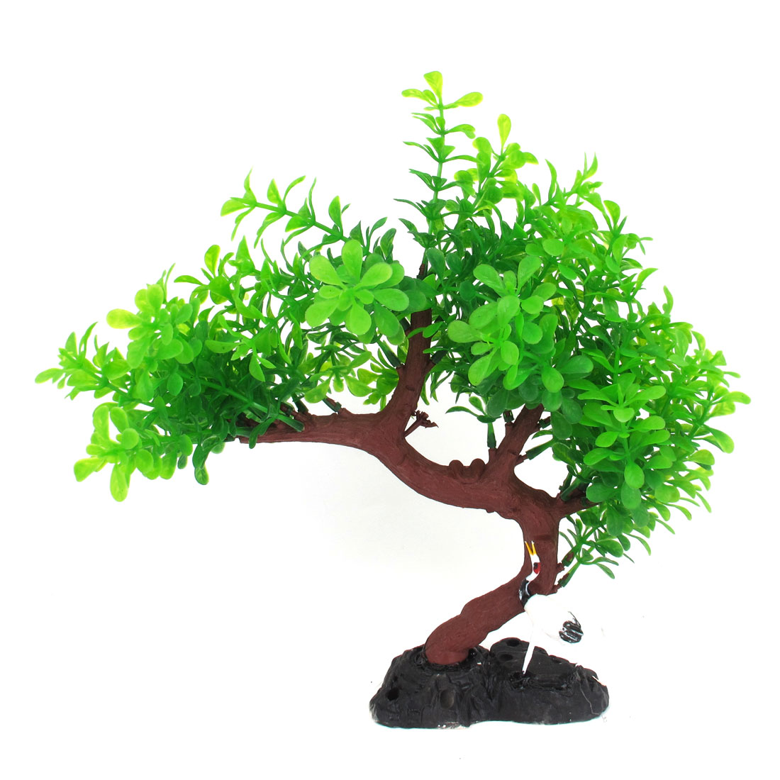 "Aquarium Green Leaf Burgundy Tree Branch Plant 10.6"" Height w Crane Bird Decor"