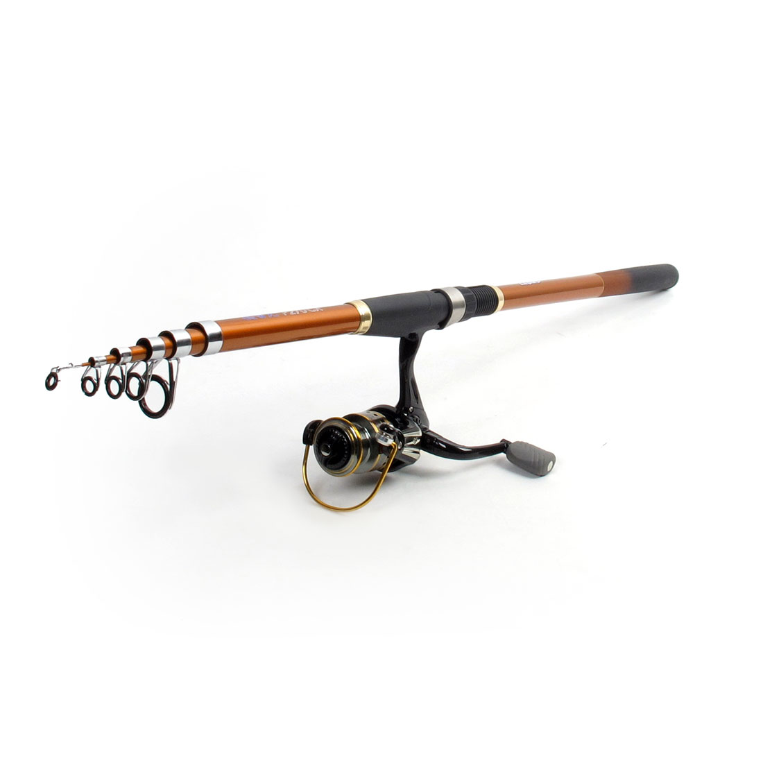 Portable 2.65M 6 Sections Telescopic Fishing Spinning Rod Black Orange Red