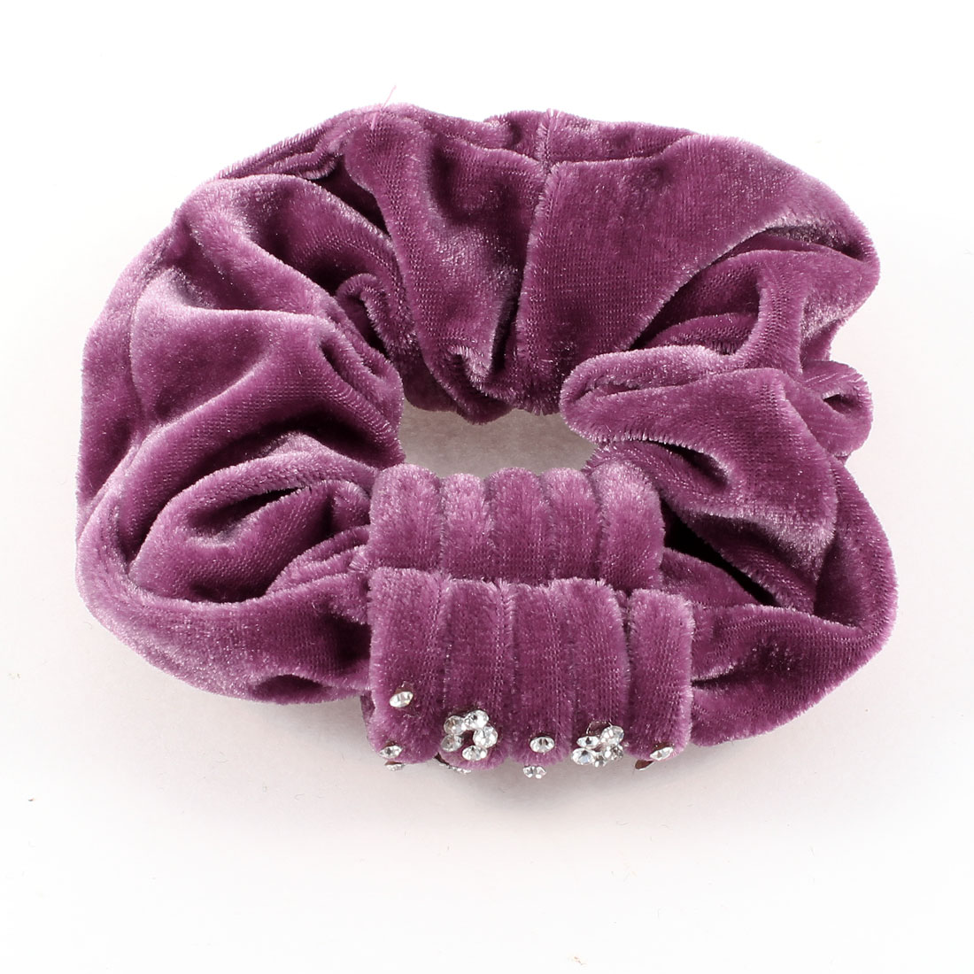 Ladies Faux Rhinestone Detailed Elastic Velvet Hair Tie Scrunchie Holder Purple
