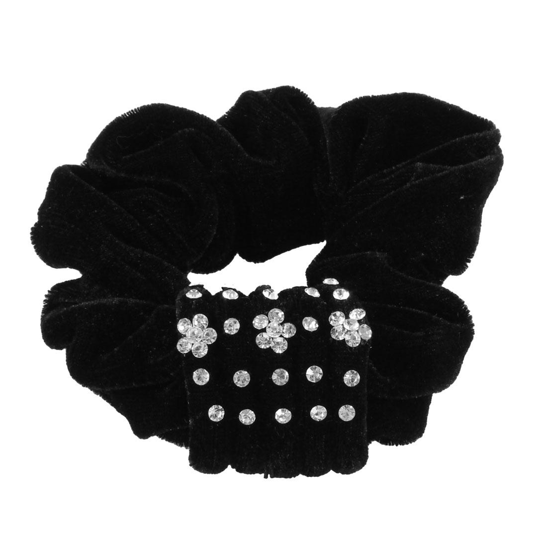 Ladies Fouu Row Faux Rhinestone Decor Stretchy Velvet Hair Tie Scrunchy Holder Black