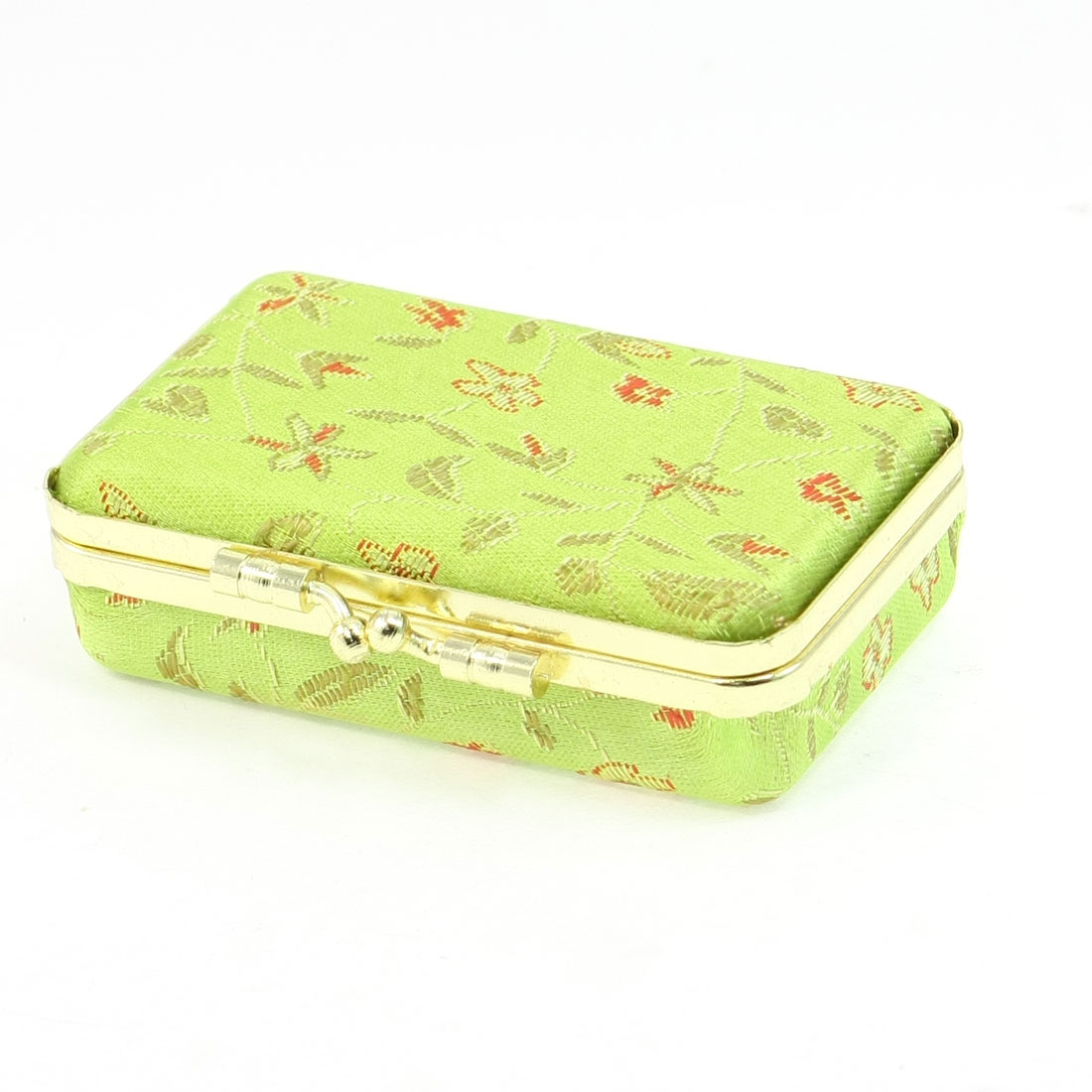 Lady Embroidered Flower Gold Tone Kiss Lock Clasp Jewelry Box Light Green