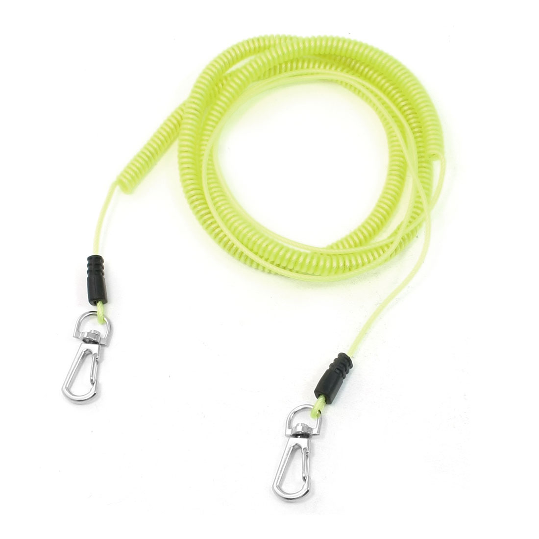 8M Stretched Length Contractility Soft Plastic Coiled Fishing Lanyard Yellow
