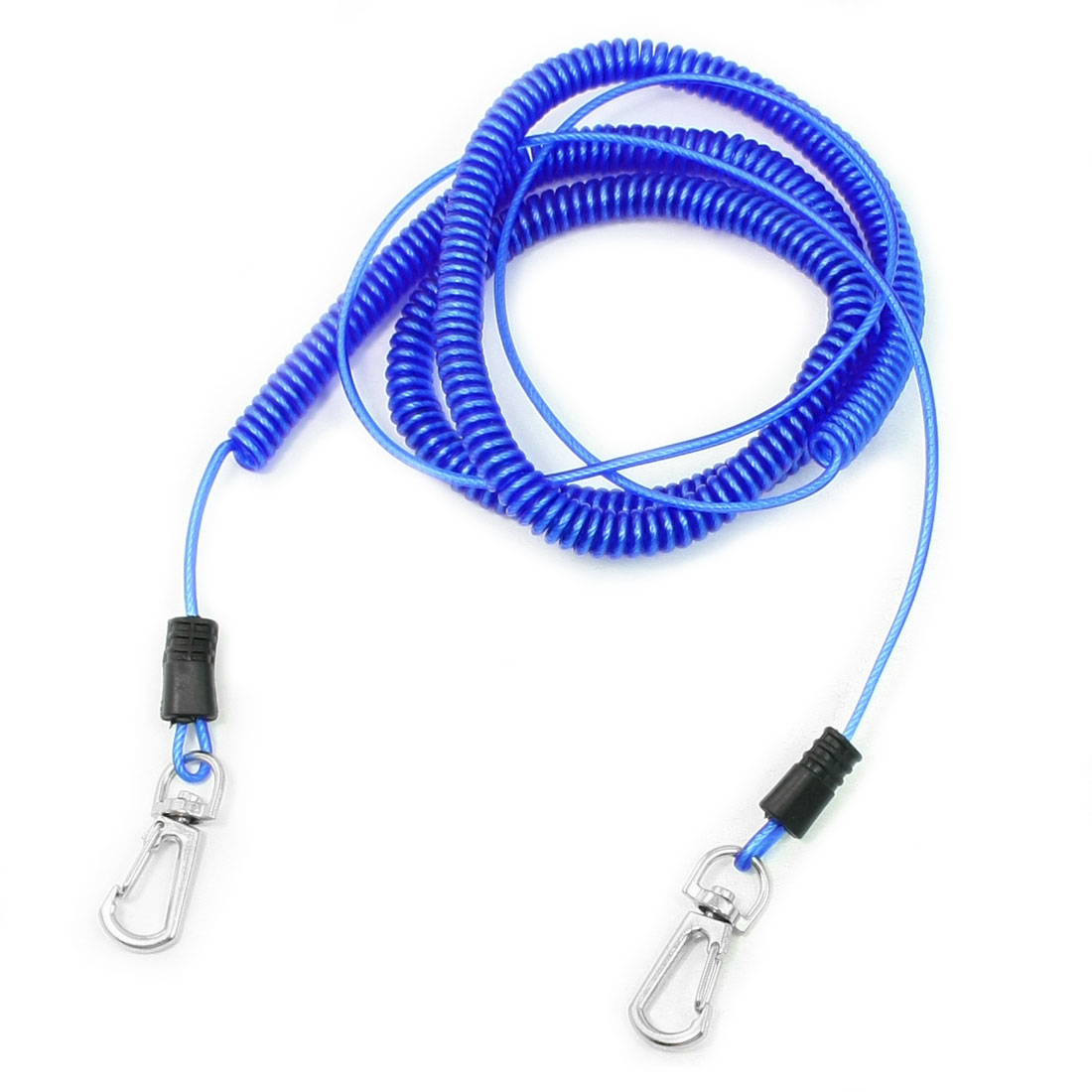 Metal Core Blue Elastic Flexible Coiled Fishinng Lanyard Cable 8M