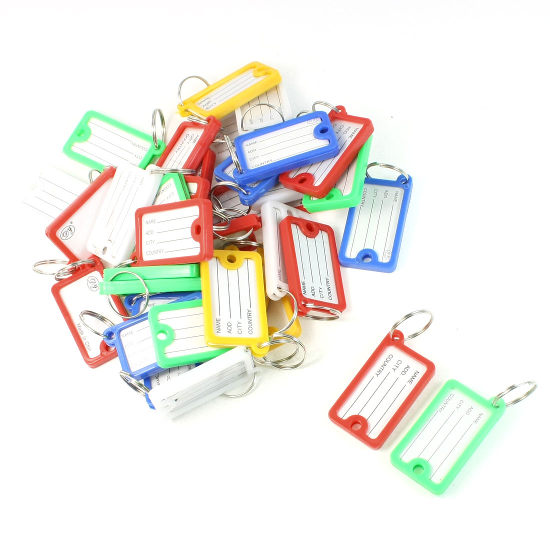 36 Pcs Plastic ID Card Key Label Holder Split Key Ring Keychain Set Multi Color