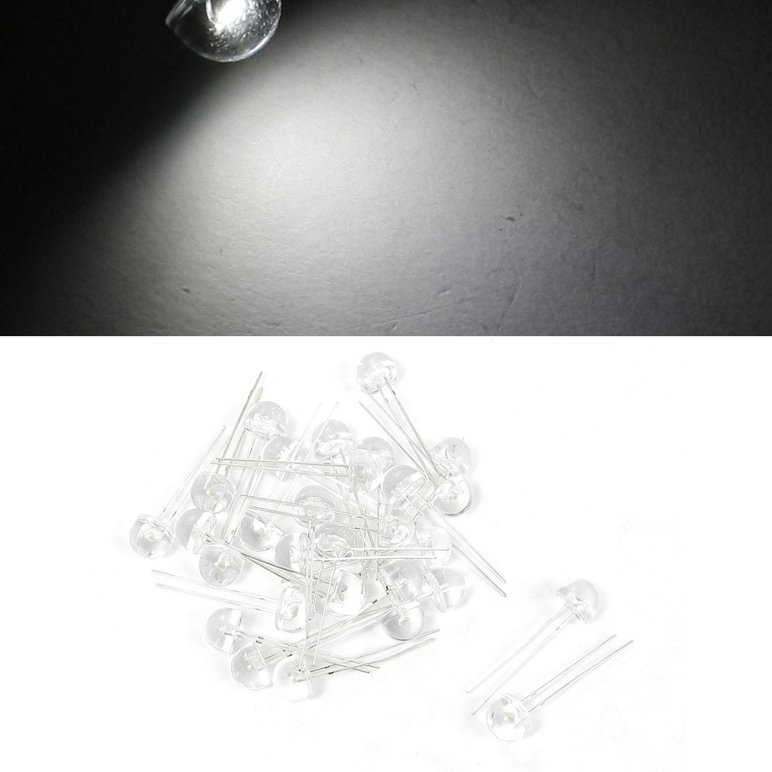 3V 2P Terminals White LED Lamp Light Emitting Diode 30 Pcs