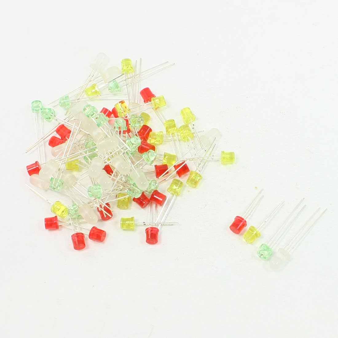 80 Pcs 5mm Cylinder Head Multi Color Light LED Emitting Diode DC 3V
