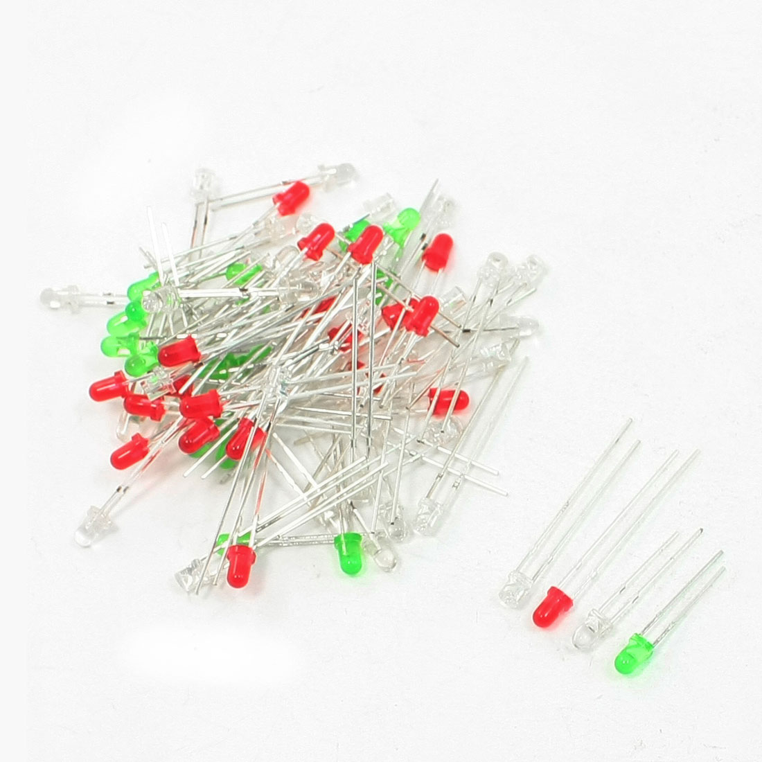 80 Pcs 3mm Round Green Yellow Red Blue Light LED Emitting Diode 3V