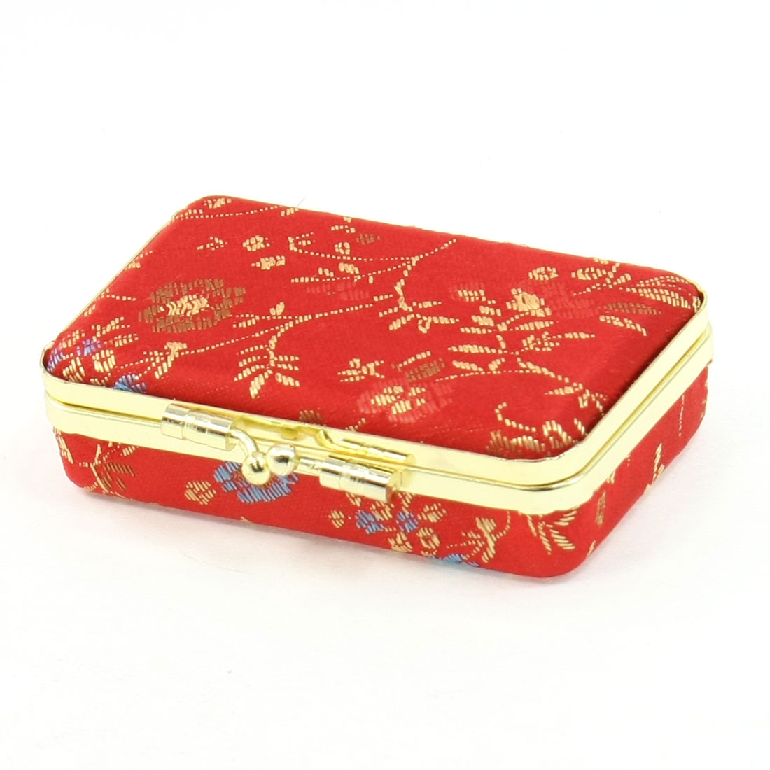 Red Embroidered Flannel Lining Gold Tone Clutch Closure Jewel Case for Ladies