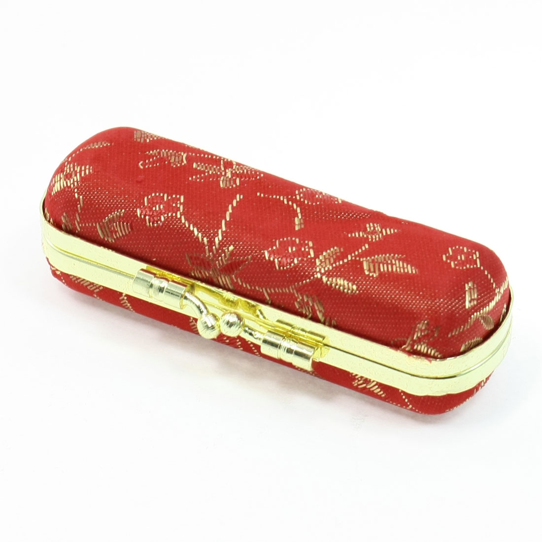 Kiss Lock Closure Flannel Lining Embroidery Lipstick Case Red for Ladies Women