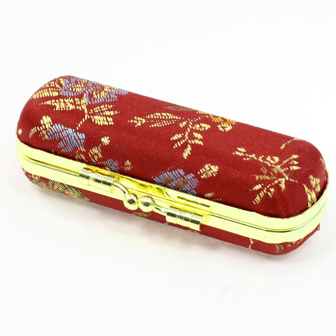 Lady Flannel Lining Metallic Box Edge Embroidery Red Lipstick Case w Mini Mirror