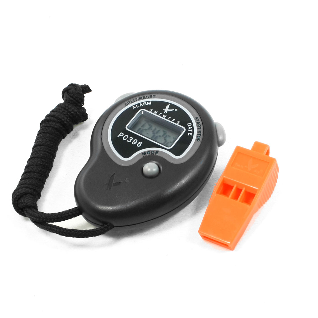 LCD Digital Timer Nylon Neck Lanyard Stop Watch Black w Orange Whistle