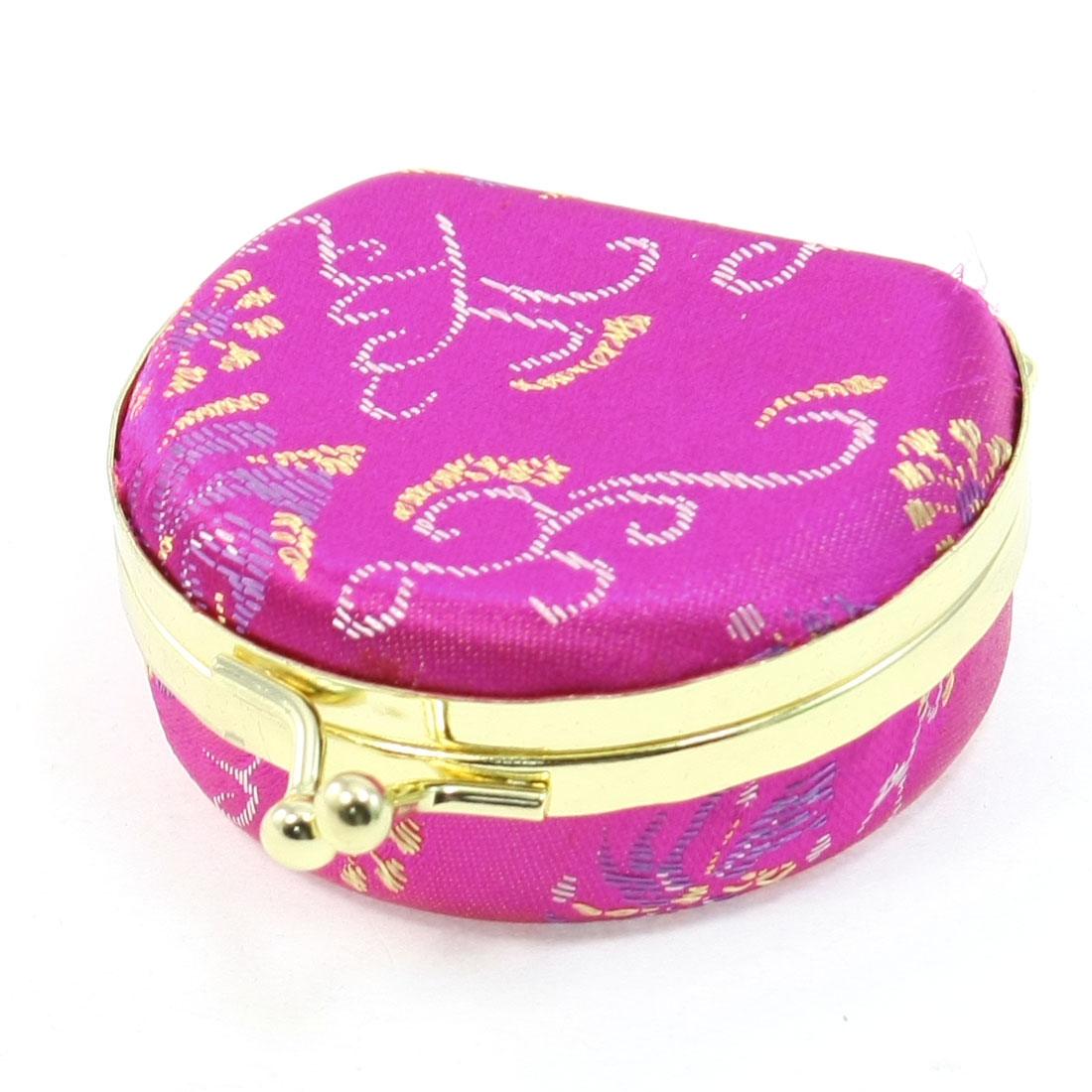Embroidered Floral Coated Clutch Closure Flannel Lining Fuchsia Jewel Case