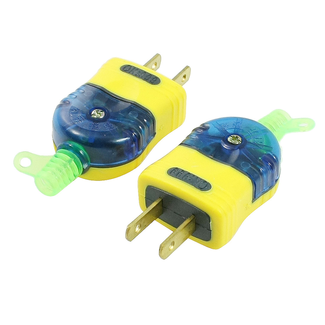 2 Pcs Yellow Plastic Shell 2 Pin US Type Power Adapter Plug Connector 250VAC 16A