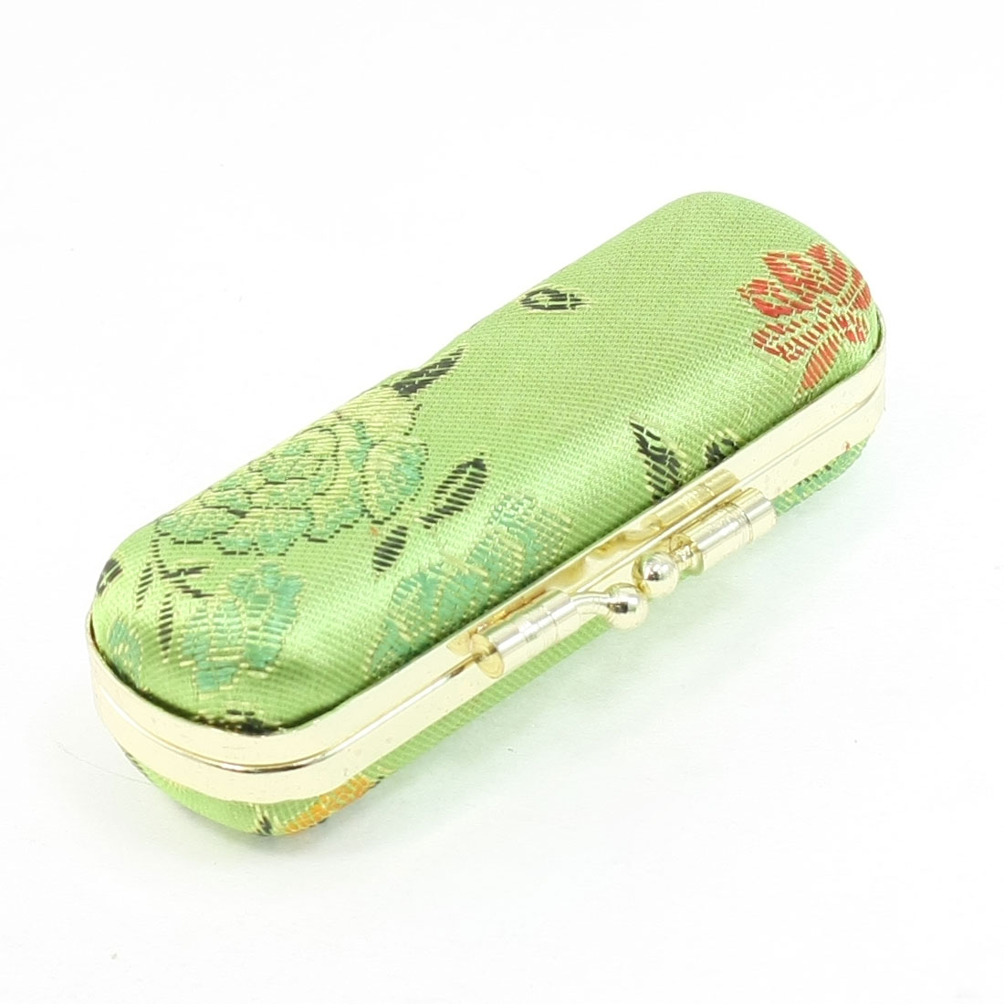Women Flower Embroidery Flannel Lining Kiss Lock Design Light Green Lipstick Box
