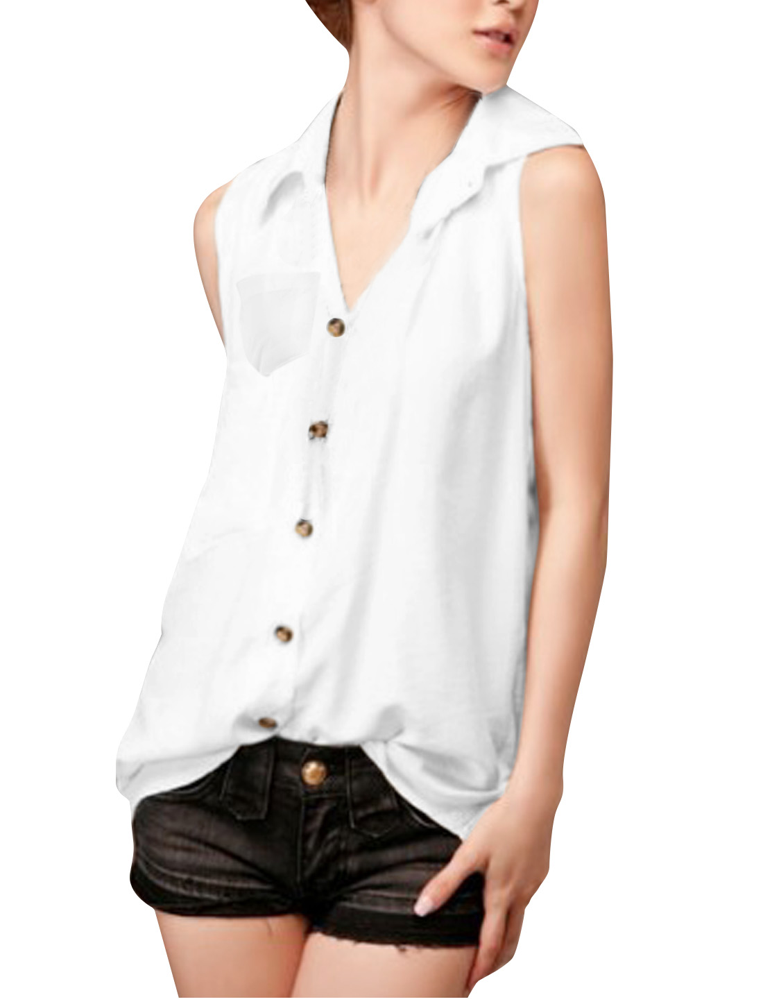 Women Newly White Point Collar Sleeveless Chest Pocket Design Blouse L