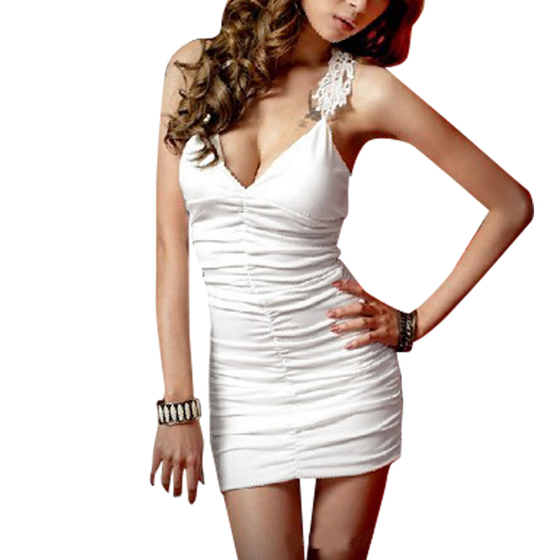 Woman Crochet Splice Racerback Sexy V Neck White Skinny Mini Dress S