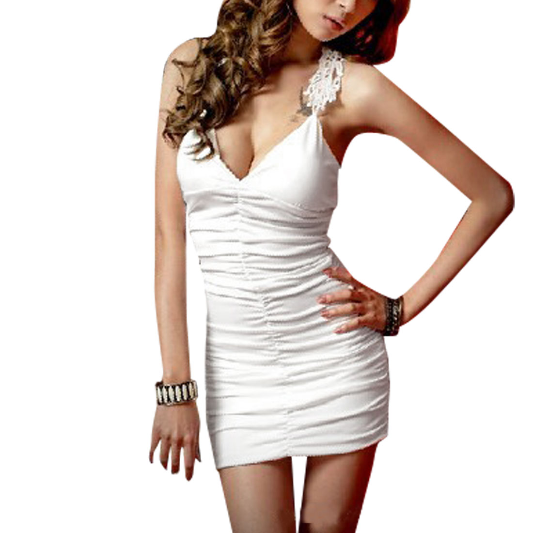 Woman Sexy V Neck Guipure Hollow Back White Cocktail Mini Dress M