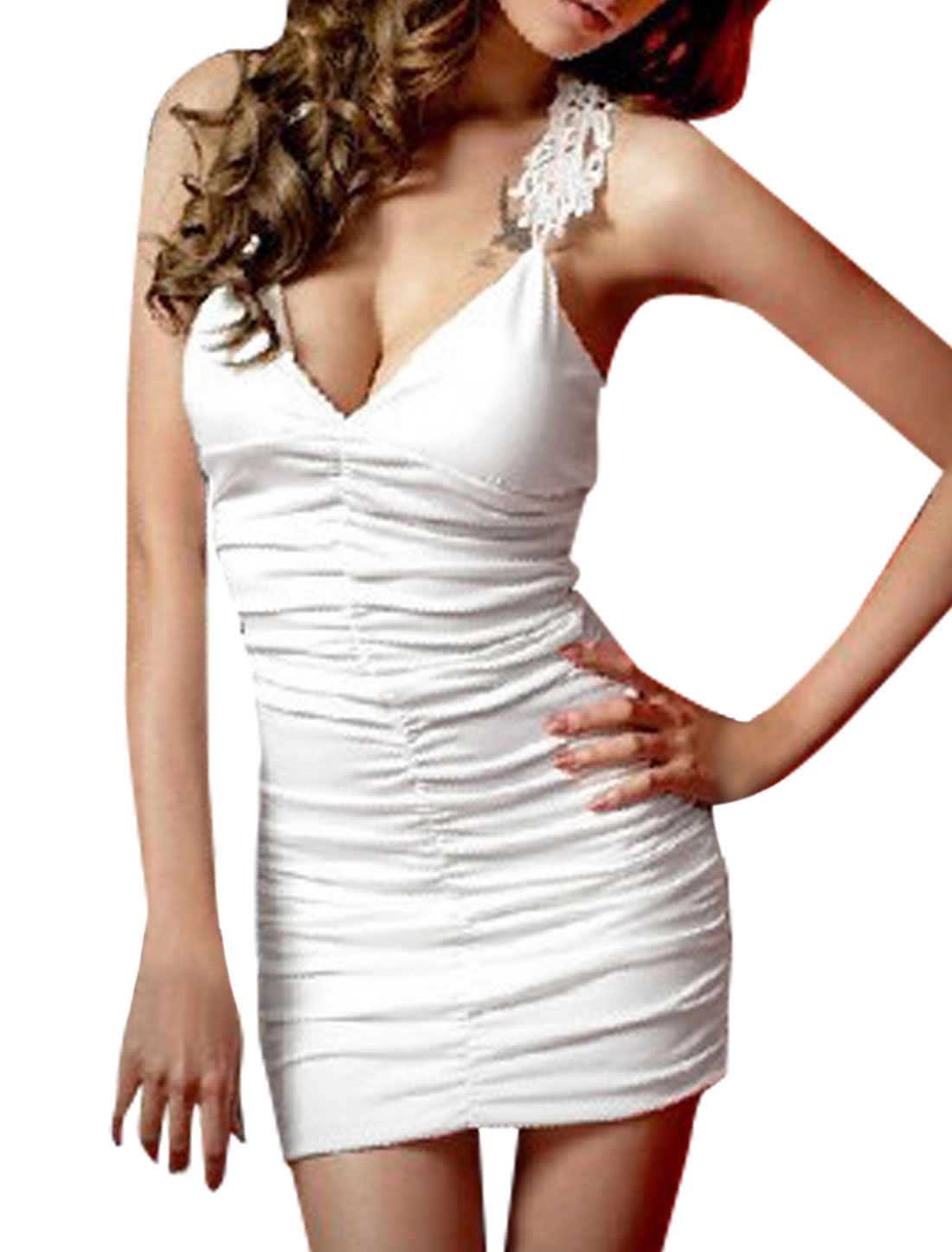 Lady Chic Crochet Hollow Racerback Design White Bodycon Mini Dress L