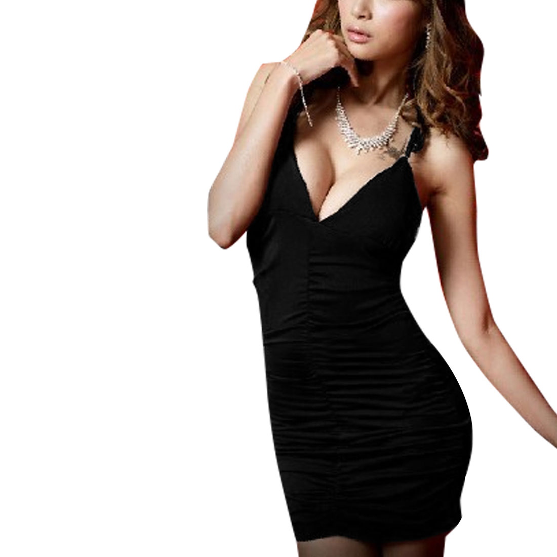 Woman New Fashion Crochet Hollow Racerback Black Bodycon Mini Dress S
