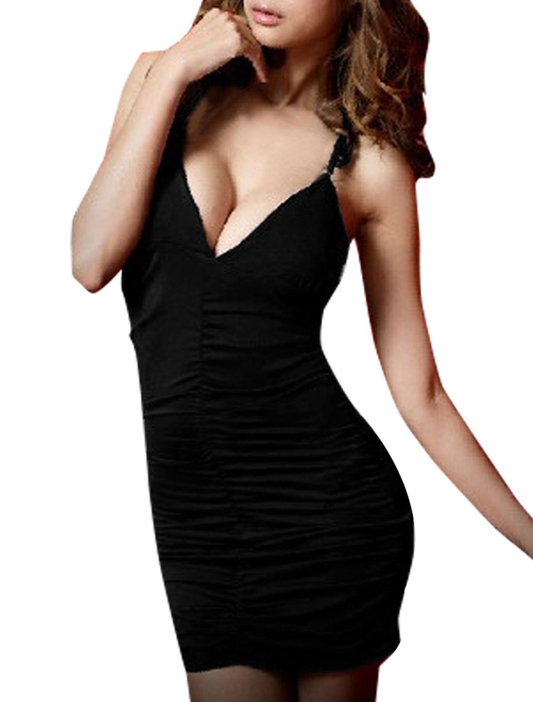 Women New Fashion Guipure Hollow Back Design Black Bodycon Mini Dress XL
