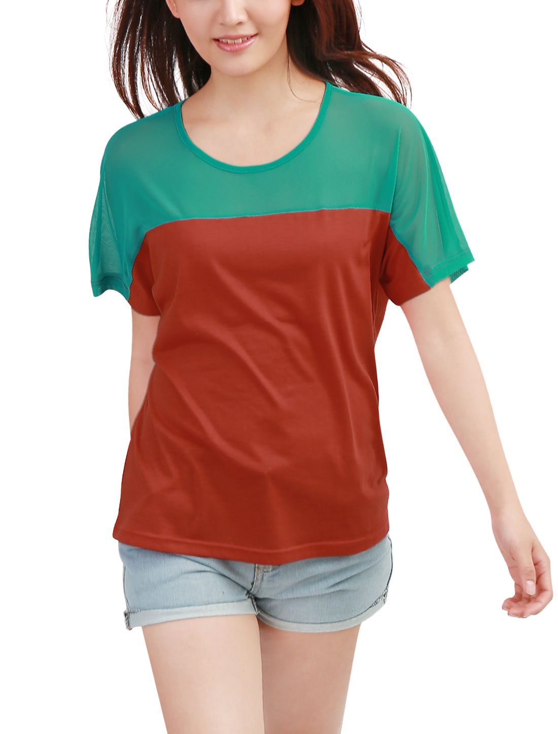 Stylish Dark Orange Green Color Blocking Loose Casual Shirt for Lady L