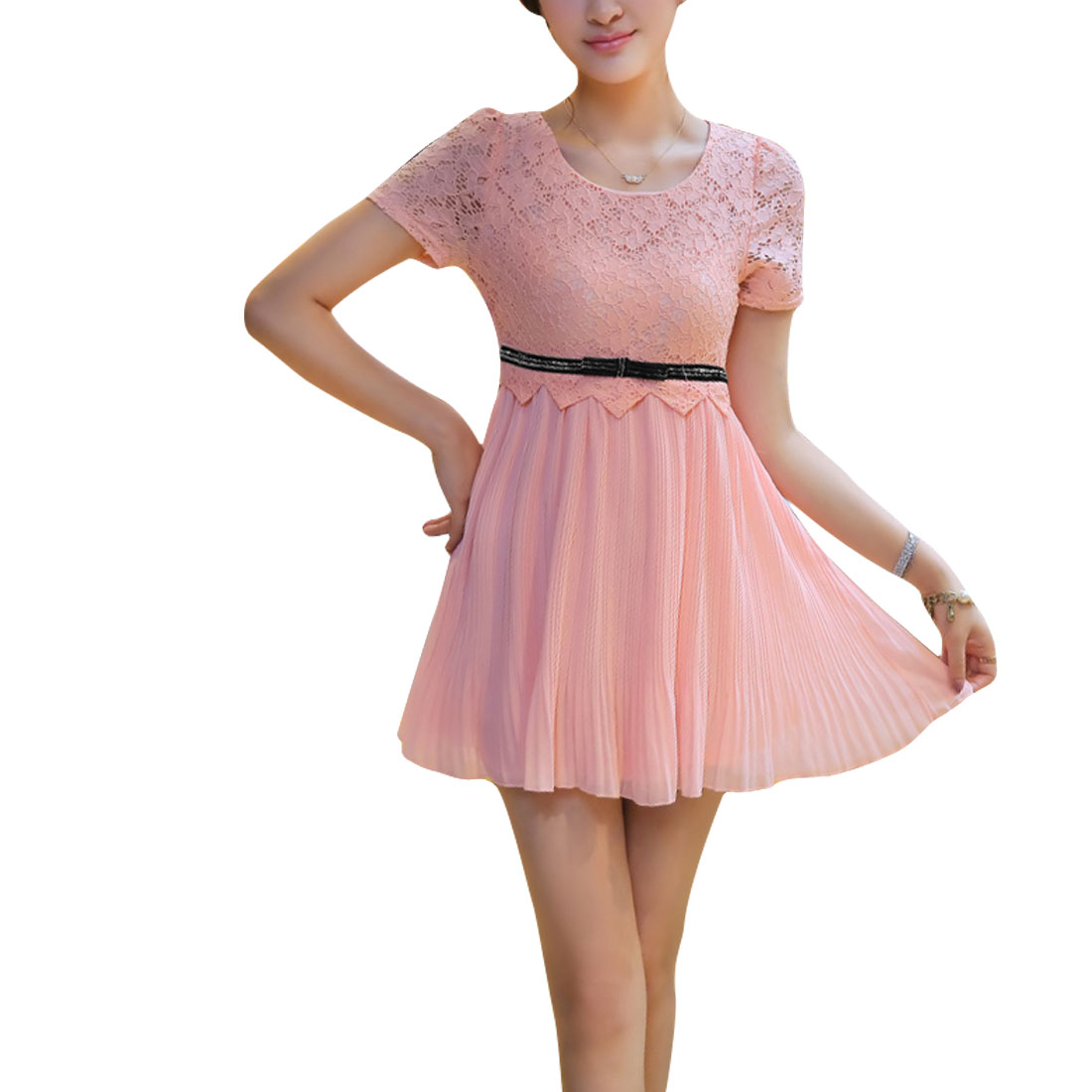 Ladies Hidden Zipper Side Above Knee Spliced Lace Dress Pink S