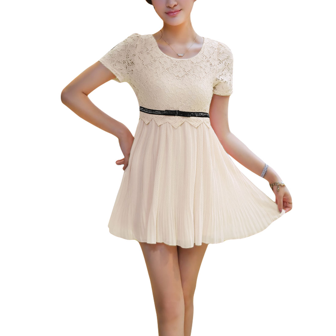 Ladies Short Sleeves Lace Round Neck Stretchy Pleated Dress Apricot S