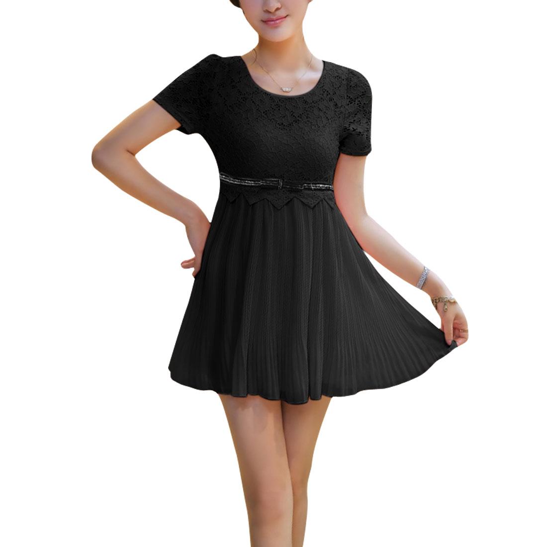 Ladies Hidden Zipper Side Above Knee Spliced Lace Dress Black S