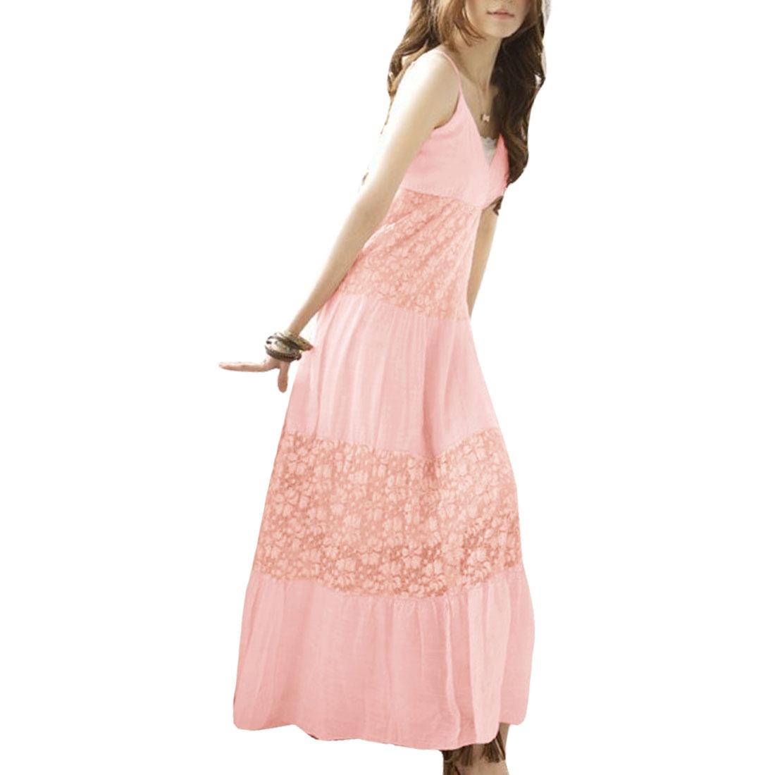 Ladies Spaghetti Strap Sleeveless Empire Elegant Dress Pink XS