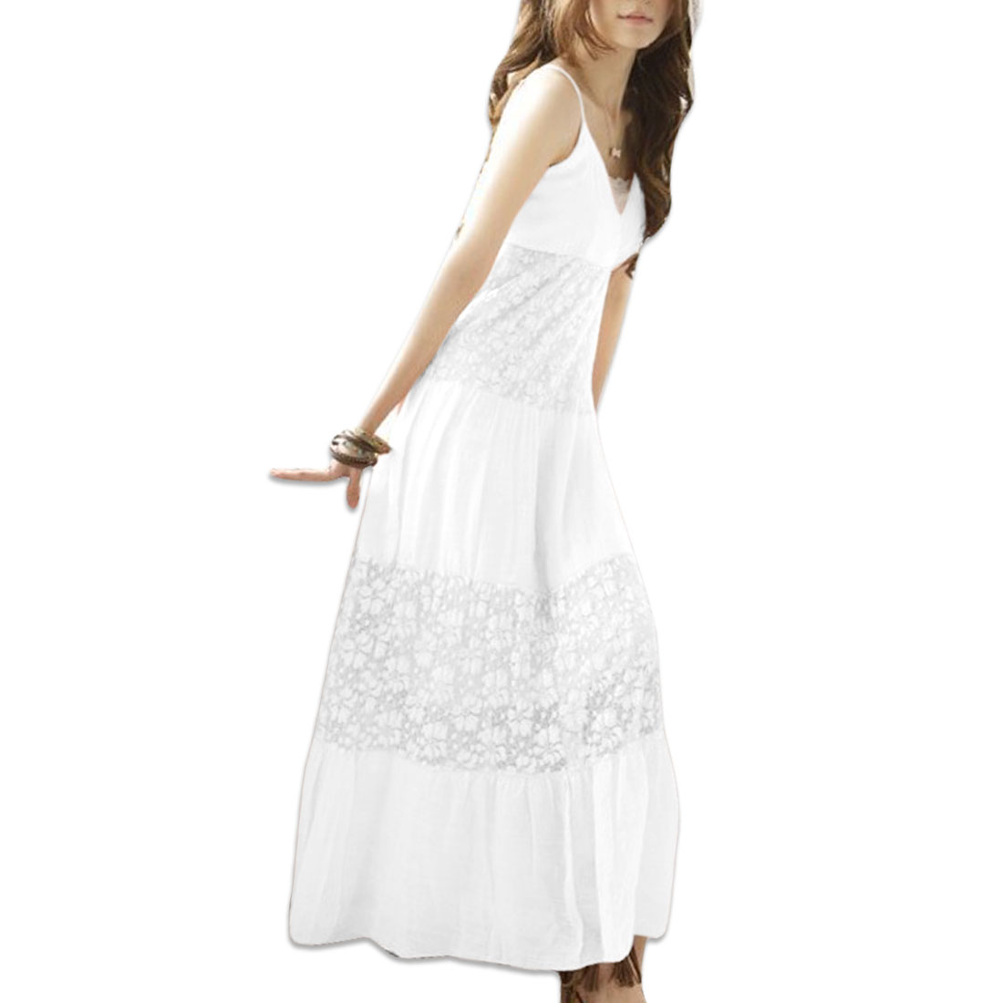 Women Self Tie String Stretchy Full Length Fashion Dress White XS